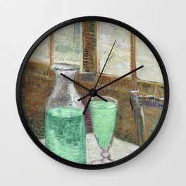 Drinking Absinthe Aperitifs in a Paris Cafe with Vincent still life portrait by Vincent van Gogh Wall Clock