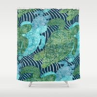 turtles Shower Curtains featuring sea turtles by Ariadne