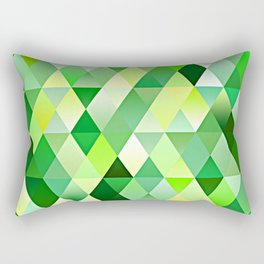 Lime Green Yellow White Diamond Triangles Mosaic Pattern Rectangular Pillow