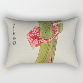 Itsutomi by Eishi Hosoda (1756-1829) a traditional Japanese Ukyio-e style  of a Japanese woman in a kimono and a shamisen on the floor Rectangular Pillow