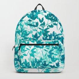 Watercolor Leaves Pattern in Teal Backpack