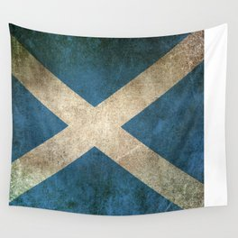 Old and Worn Distressed Vintage Flag of Scotland Wall Tapestry