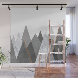 Marble Gray Copper Black and White Mountains Wall Mural