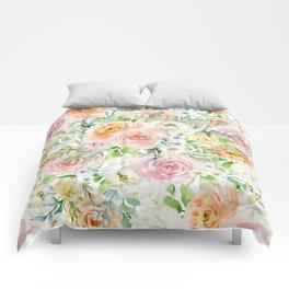 Pastel romantic garden Comforters