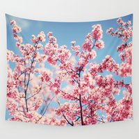 cherry blossoms Wall Tapestries featuring Cherry Blossoms by Kameron Elisabeth