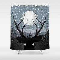 infamous Shower Curtains featuring Bambi by Rowan Stocks-Moore
