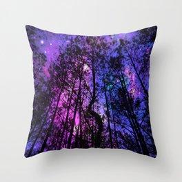 Black Trees Purple Fuchsia Blue space Throw Pillow