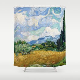 Wheat Field with Cypresses by Vincent van Gogh Shower Curtain