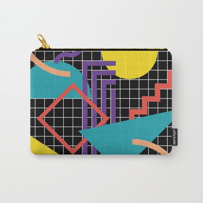 Memphis Pattern - 80s Retro Black Carry-All Pouch