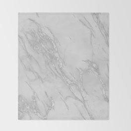 Marble Love Silver Metallic Throw Blanket