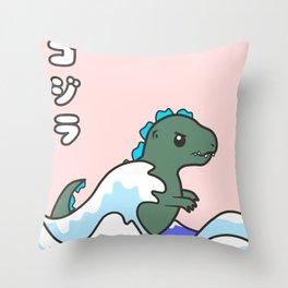 kawaii tiny godzilla kanagawa wave Throw Pillow