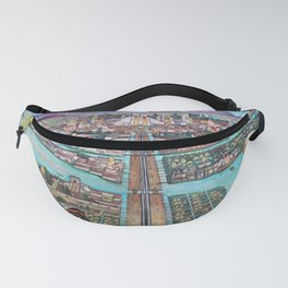 Mural of the Aztec city of Tenochtitlan by Diego Rivera Fanny Pack