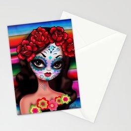 Dia De Los Muertos Girl on Sarape Stationery Cards