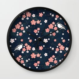 Navy blue cherry blossom finch Wall Clock