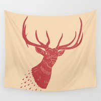 elk Wall Tapestries featuring Taxidermied Elk by The Provincial Trading Co.