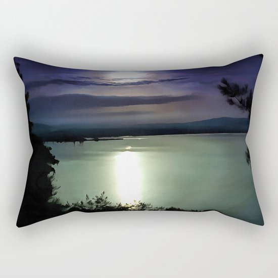 Blue Coastal Sunset Rectangular Pillow