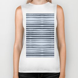 Simply Shibori Stripes Indigo Blue on Sky Blue Biker Tank
