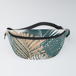Gold and Green Palm Leaves Fanny Pack