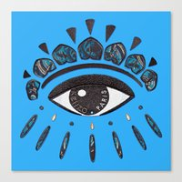 kenzo Canvas Prints featuring Kenzo eye blue by cvrcak