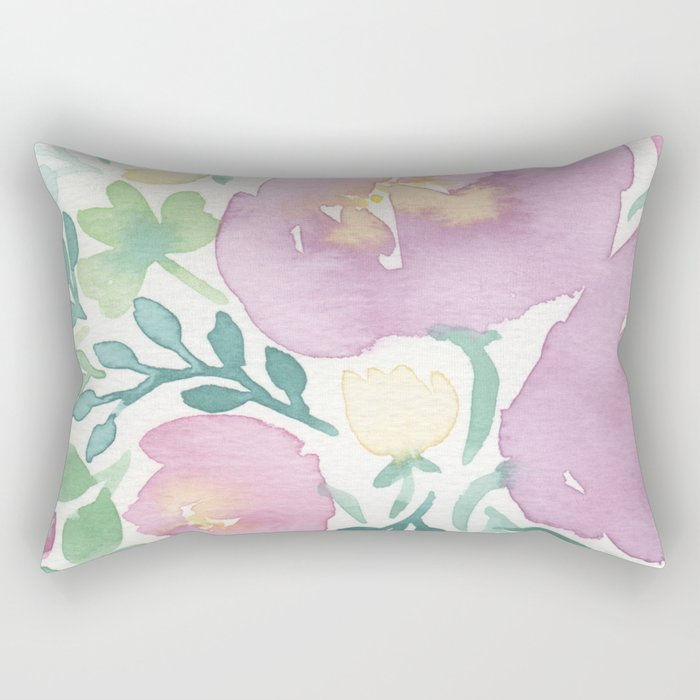Pink and Green Rectangular Pillow