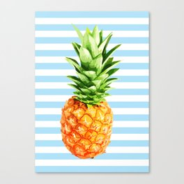 Pineapple, blue stripes, Pineapple Poster, Summer poster Canvas Print