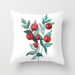 Festive watercolor red berries Throw Pillow