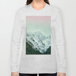 Snowy Winter Mountain Landscape with Alpenglow Long Sleeve T-shirt