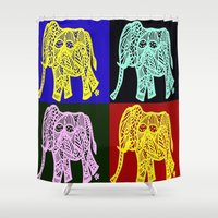elephants Shower Curtains featuring elephants by Gun Alfsdotter