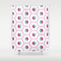 hexagon Shower Curtains featuring Hexagon Pattern by C Designz
