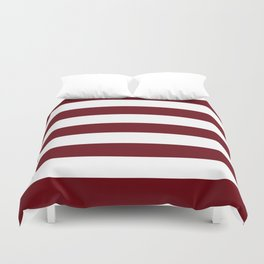 Rosewood - solid color - white stripes pattern Duvet Cover