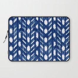 Indigo Geometric Shibori Pattern - Blue Chevrons on White Laptop Sleeve