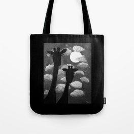 Giraffes at Nightfall - Black & White Version Tote Bag