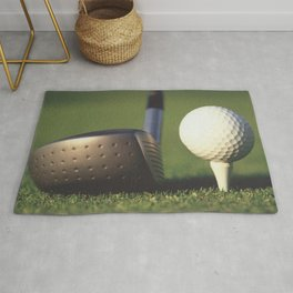 Golf Club and Ball on Tee Rug