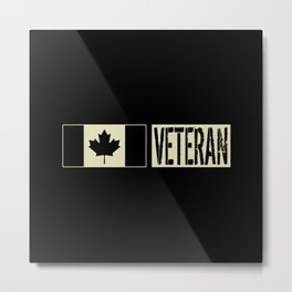 Canadian Military: Veteran (Black Flag) Metal Print