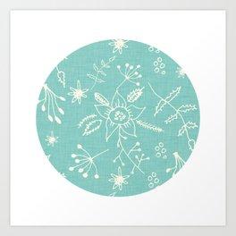 Winter Floral Blue Art Print