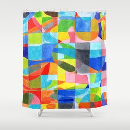 Grid with integrated Bizarre Shapes Shower Curtain