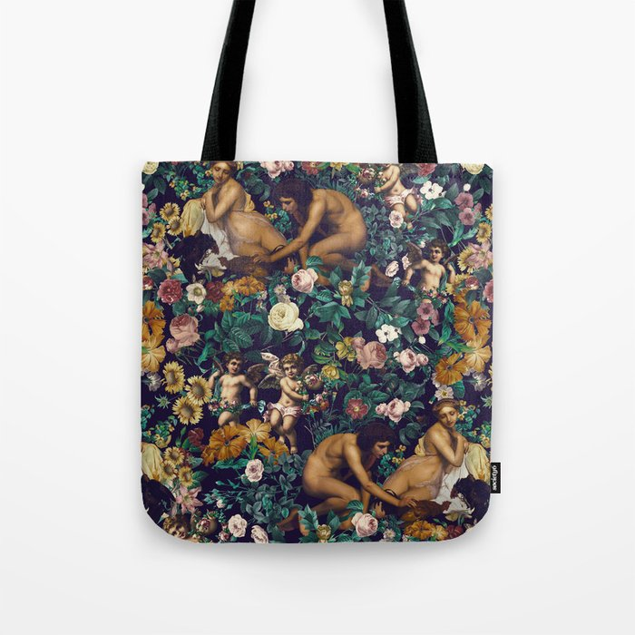 Young Greeks and Floral Pattern Tote Bag