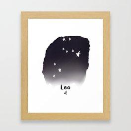 Leo Star sign, Constellation, Astrology, Horoscope, Zodiac Grey Watercolor Framed Art Print