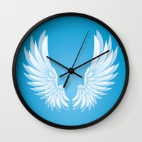 wings Wall Clocks featuring wings by Li-Bro