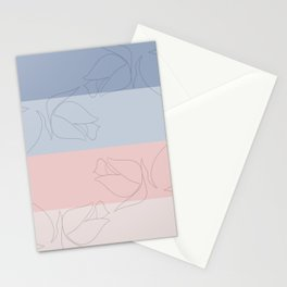 Pastel Rose Line Art Stationery Cards