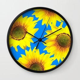 Sunny Sunflowers with blue sky - summer mood - #Society6 #buyart Wall Clock