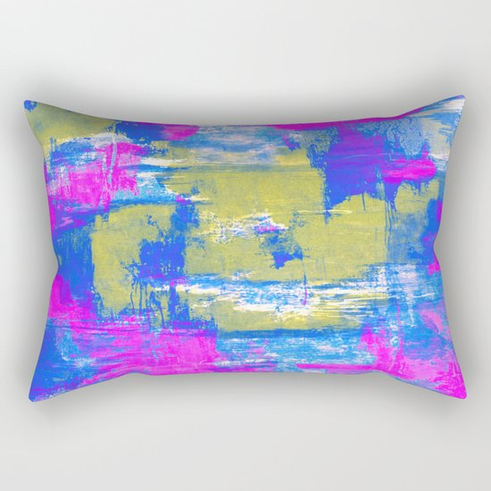 Just Relax - Abstract, pink, blue and yellow painting Rectangular Pillow