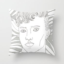 White plants and a man Throw Pillow