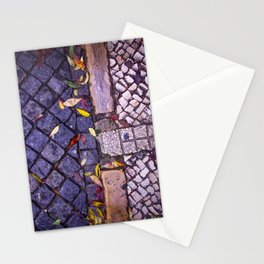 Autumn leaves on sidewalk and road Stationery Cards