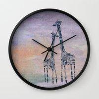 giraffes Wall Clocks featuring giraffes by Bunny Noir