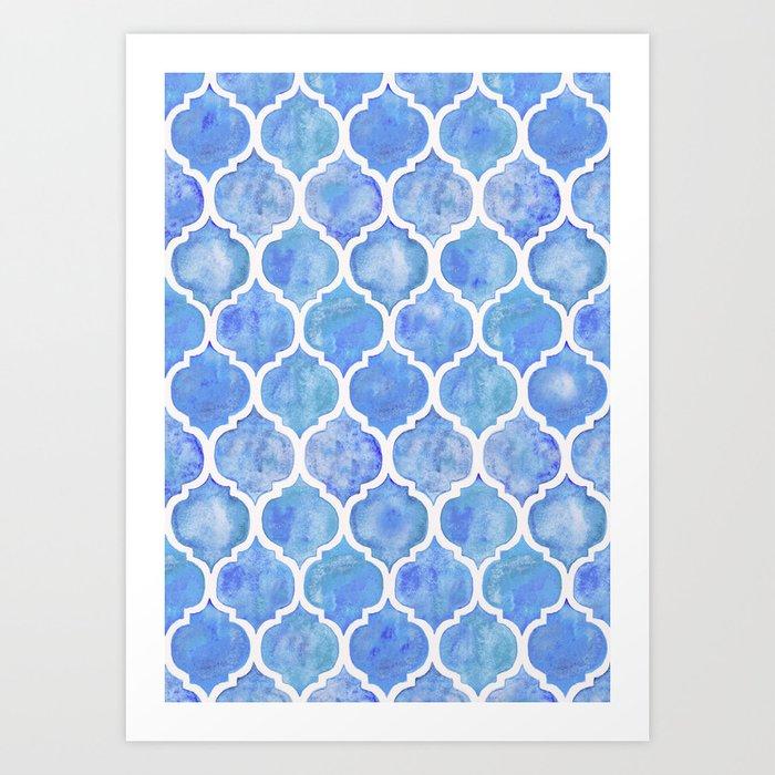 Cornflower Blue Moroccan Hand Painted Watercolor Pattern Art Print