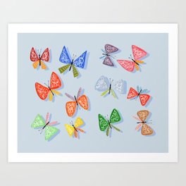 Colorful and happy butterflies Art Print