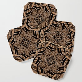 Beige and Black Geometric Mandala Coaster