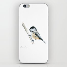 """""""Chicka-dee-dee-dee"""" a painting of a Chickadee by Teresa Thompson iPhone Skin"""