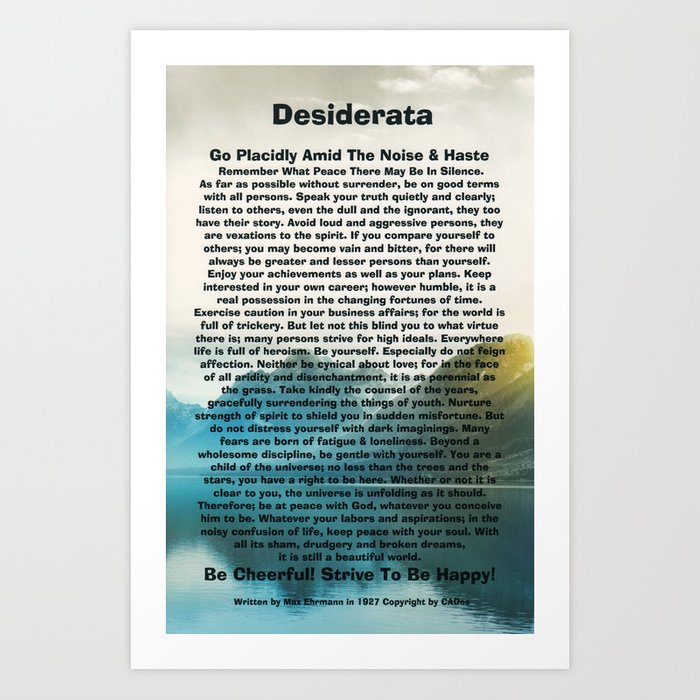 graphic about Desiderata Printable named Inspirational Typography Wall Artwork, Lakeside Mountain, Desiderata Poem by way of Max Ehrmann Artwork Print by way of desideratasuperstore